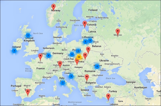 Mapa moich wszystkich podróży