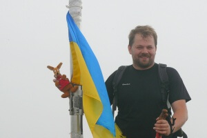 Ryjek i flaga Ukrainy